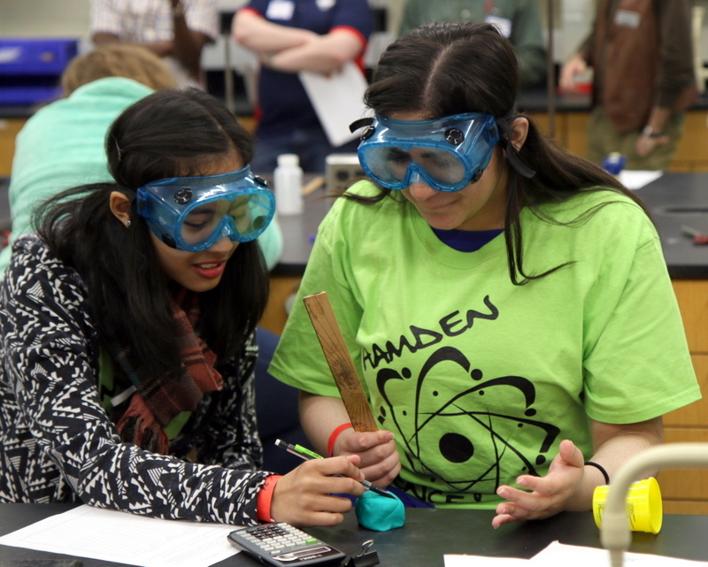 students wearing goggles taking measurements