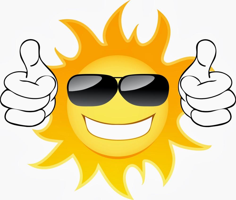 Cute Sun with sunglasses clip art image